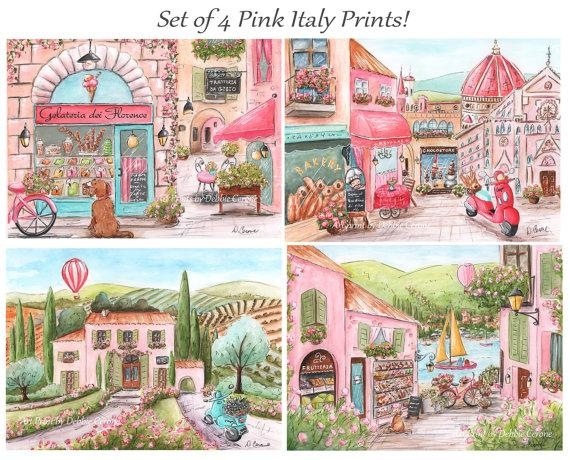 Italian Theme Travel Themed Nursery Art For Girl Custom Regarding Italian Nursery Wall Art (View 2 of 20)