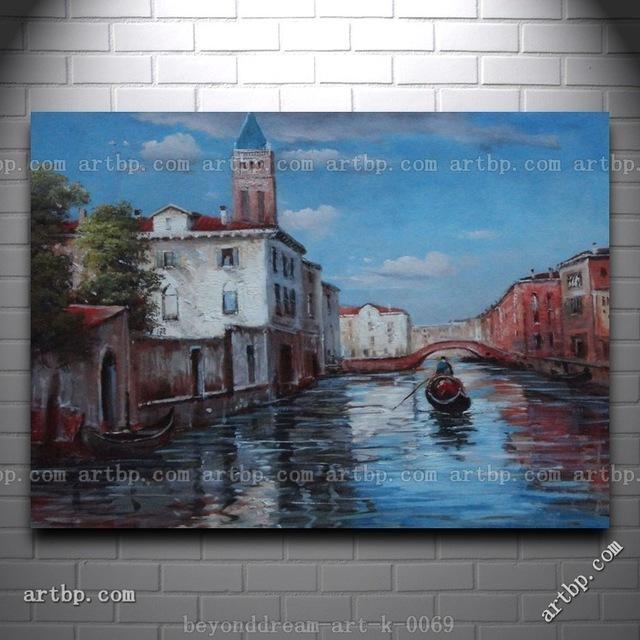 Italian Venice Water Street Scene Oil Painting Classic Canal Inside Italian Scene Wall Art (View 6 of 20)