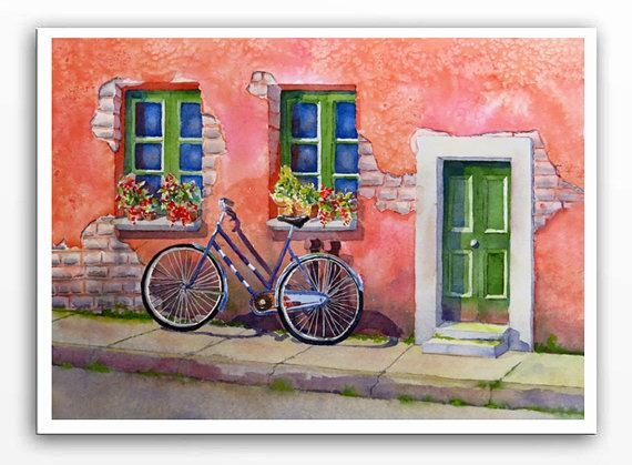 Italian Village Art Bicycle Art Watercolor Print Cycling Inside Italian Village Wall Art (Image 10 of 20)