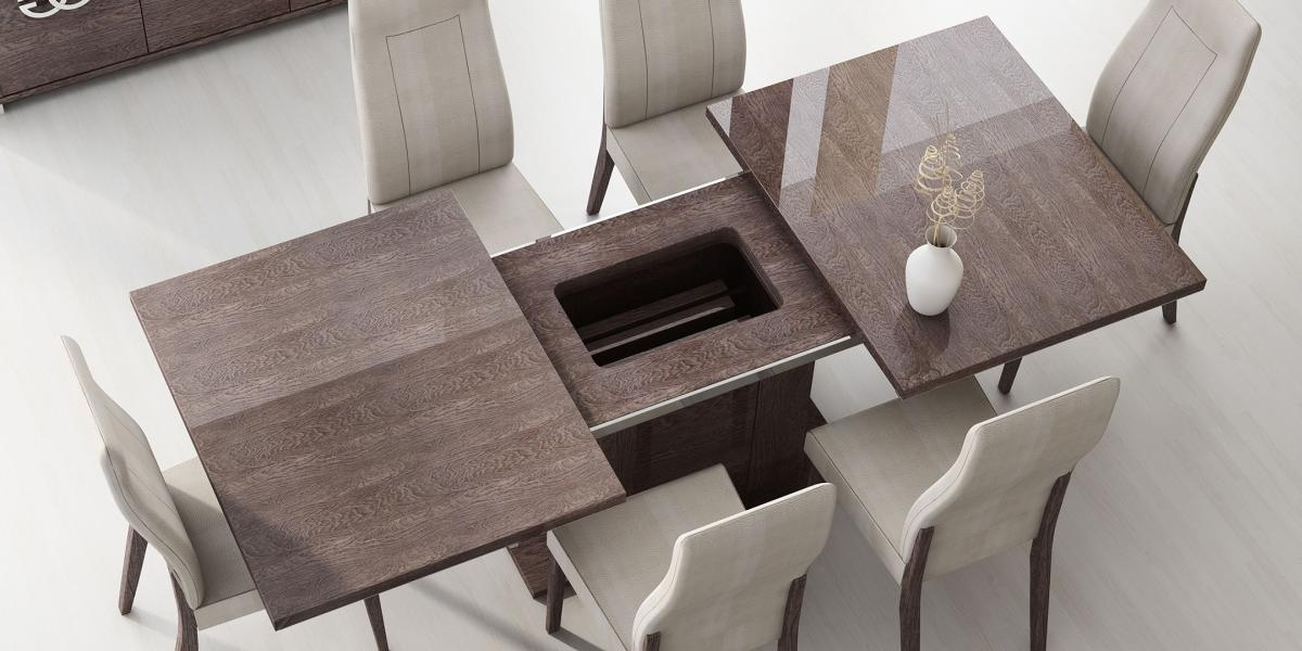 Italy Made Prestige Extendable Walnut Dining Table Boston Inside Recent Italian Dining Tables (Image 12 of 20)