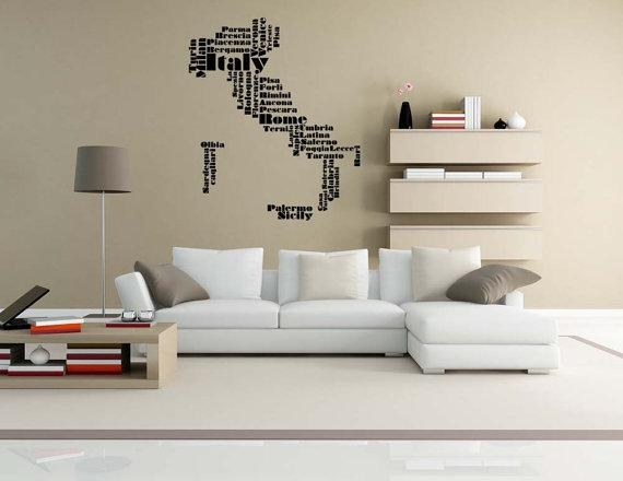 Italy Map Italy Wall Art Italy Gift Word Cloud Wall Decal Intended For Italian Wall Art For Living Room (View 3 of 20)