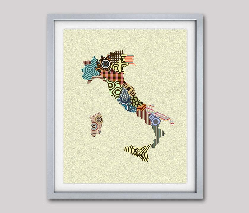 Italy Map, Map Of Italy, Italy Print Wall Art, Italy Painting For Italian Travel Wall Art (Image 16 of 20)