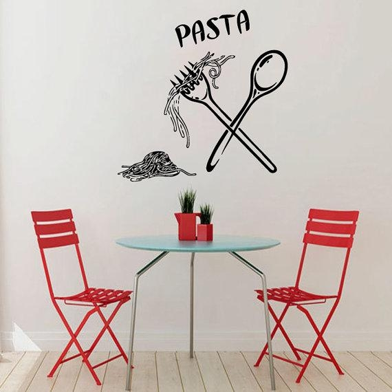Italy Wall Decals Italian Pasta Food Meal Spoon Folk Stickers In Italian Wall Art Stickers (Image 5 of 20)