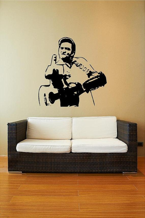 Items Similar To Johnny Cash Middle Finger – Home Decal Wall Art Intended For Johnny Cash Wall Art (Image 6 of 20)