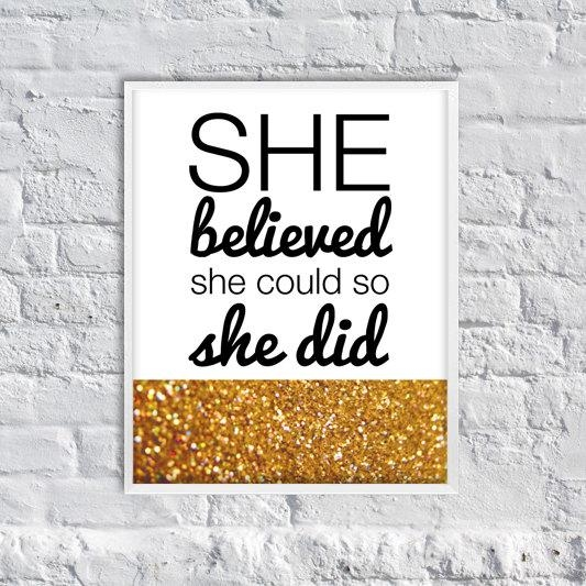 Items Similar To She Believed She Could, So She Did Art Print Inside She Believed She Could So She Did Wall Art (Image 9 of 20)