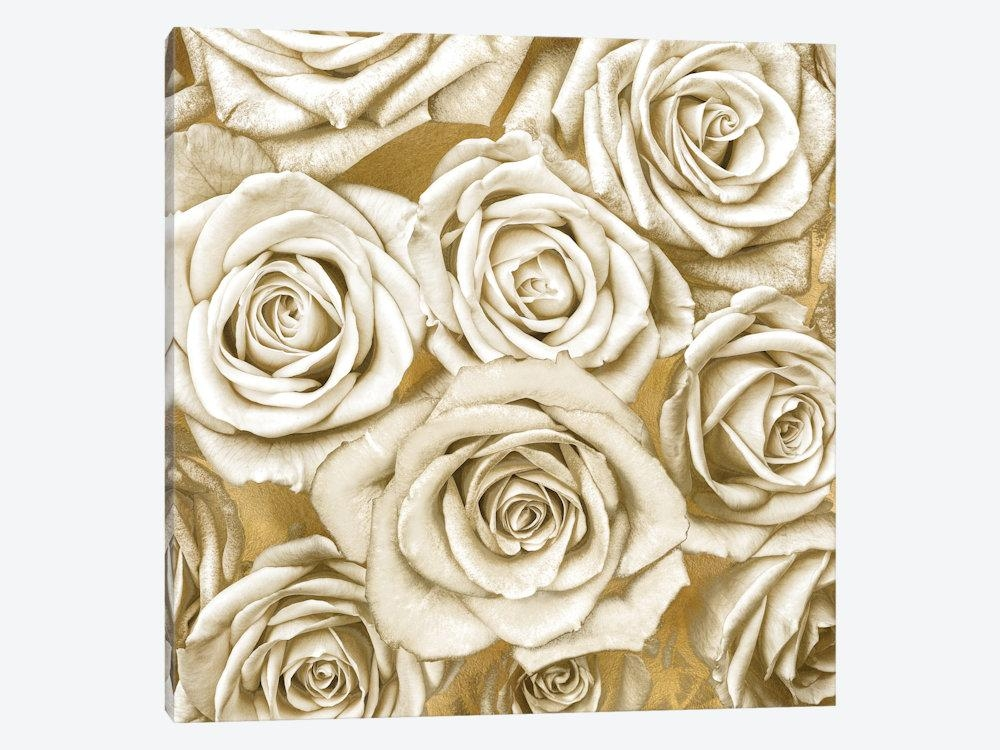 Ivory Roses On Gold Canvas Wall Artkate Bennett | Icanvas Throughout Rose Canvas Wall Art (View 12 of 20)