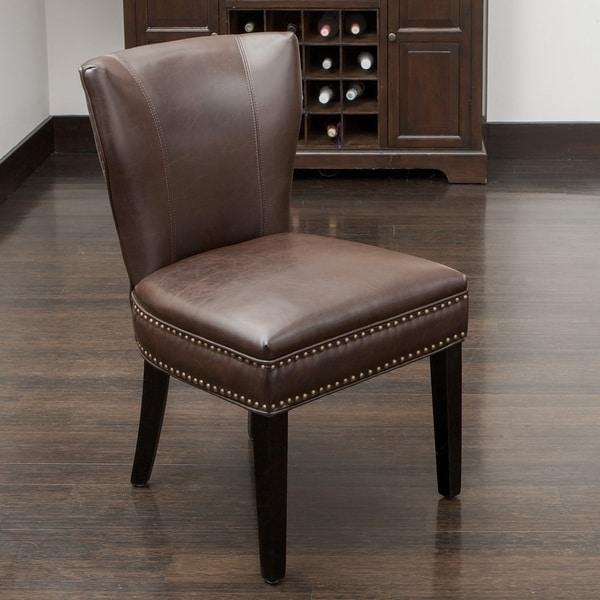 Jackie Brown Leather Accent Dining Chairchristopher Knight With Brown Leather Dining Chairs (View 17 of 20)