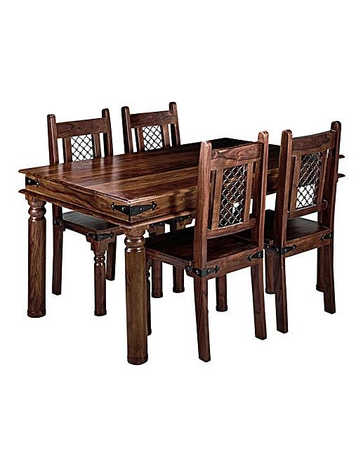 Jaipur Sheesham Dining Table & 4 Chairs | J D Williams Intended For Most Recent Sheesham Dining Tables And 4 Chairs (Photo 9 of 20)