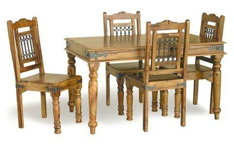 Jali 135Cm Sheesham Dining Table & 4 Chairs – Real Wood! Regarding 2018 Sheesham Dining Chairs (View 17 of 20)