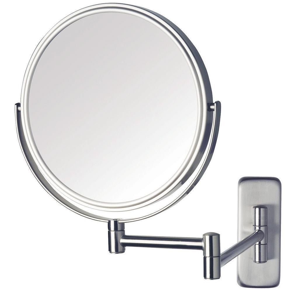 Jerdon 8 In. Dia Wall Mounted Mirror In Nickel Jp7506N – The Home Throughout Adjustable Bathroom Mirrors (Photo 18 of 20)