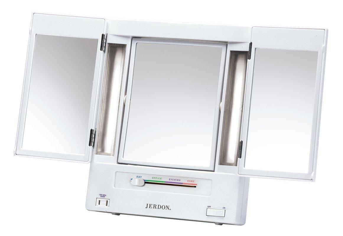 Jerdon Lighted Makeup Mirror & Reviews | Wayfair Pertaining To Lit Makeup Mirrors (Photo 13 of 20)