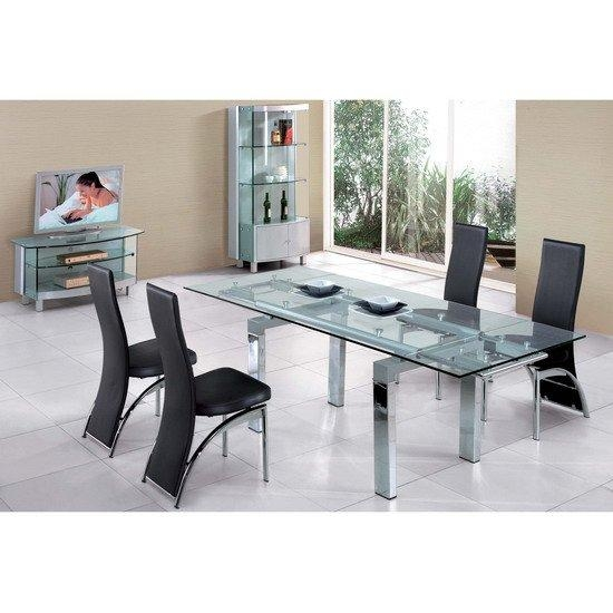 Jessi Glass Extendable Dining Table With 6 Chairs 4609 Intended For 2018 Extendable Dining Tables 6 Chairs (Photo 16 of 20)