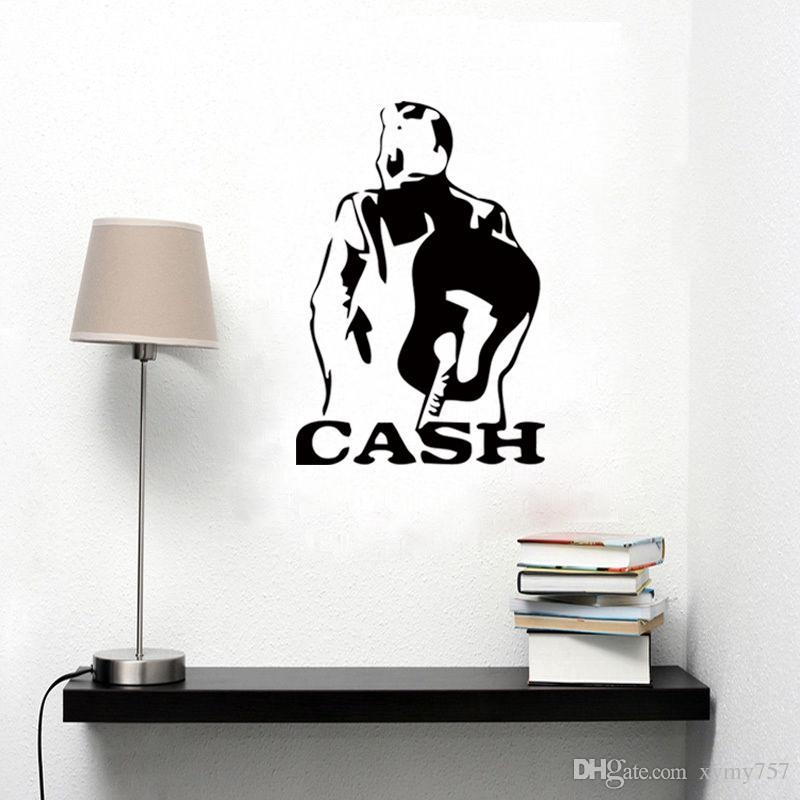 Johnny Cash Art Decor Pattern Vinyl Wall Stickers Drawing Room With Johnny Cash Wall Art (Image 7 of 20)