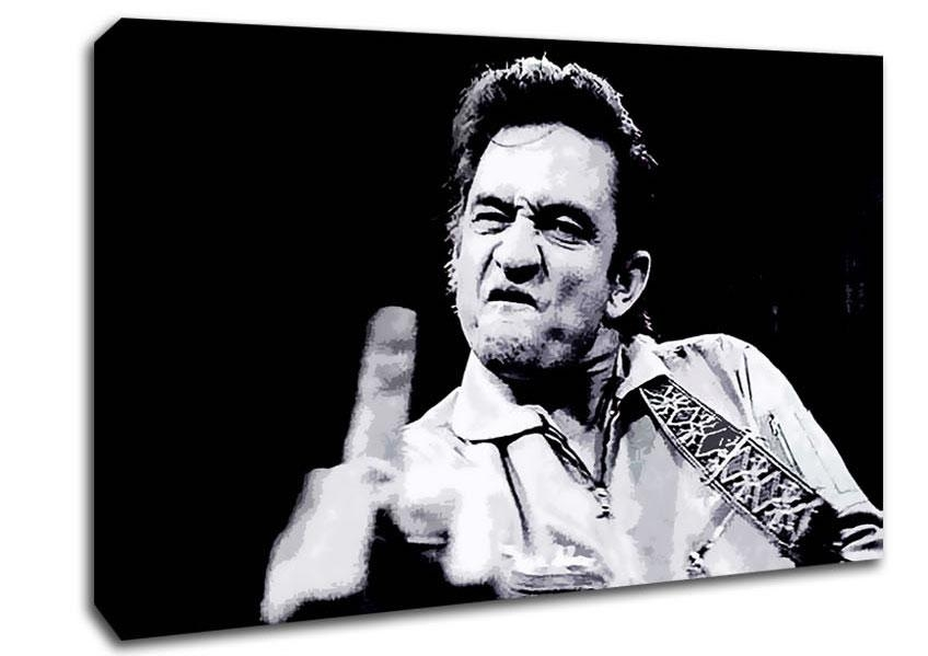 Johnny Cash Finger B~W People Canvas Stretched Canvas Pertaining To Johnny Cash Wall Art (Image 9 of 20)