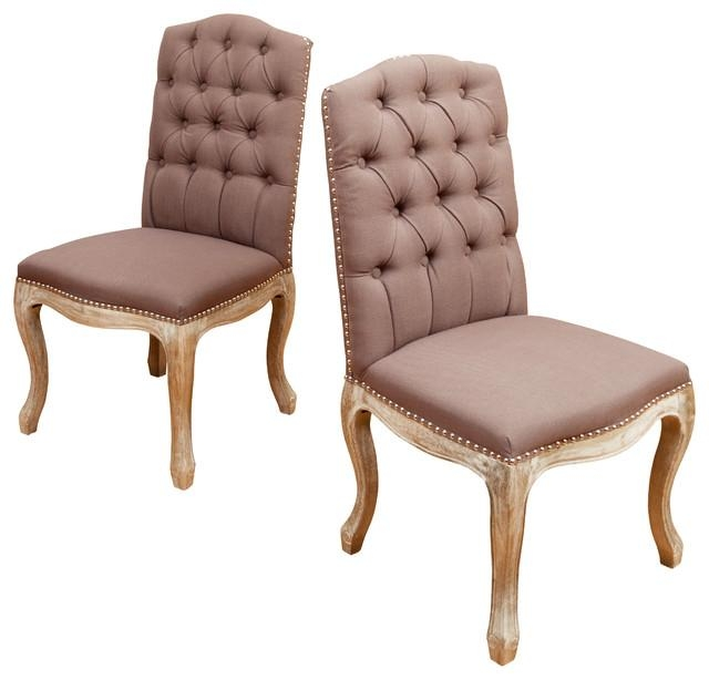 Jolie Fabric Dining Chairs, Set Of 2, Mocha Brown – Traditional In Latest Fabric Dining Chairs (Photo 1 of 20)