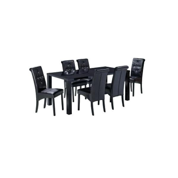 Jupiter Black Glass Dining Table And 6 Chairs Black Dining Room Throughout Most Recent Black Gloss Dining Tables And 6 Chairs (Image 13 of 20)