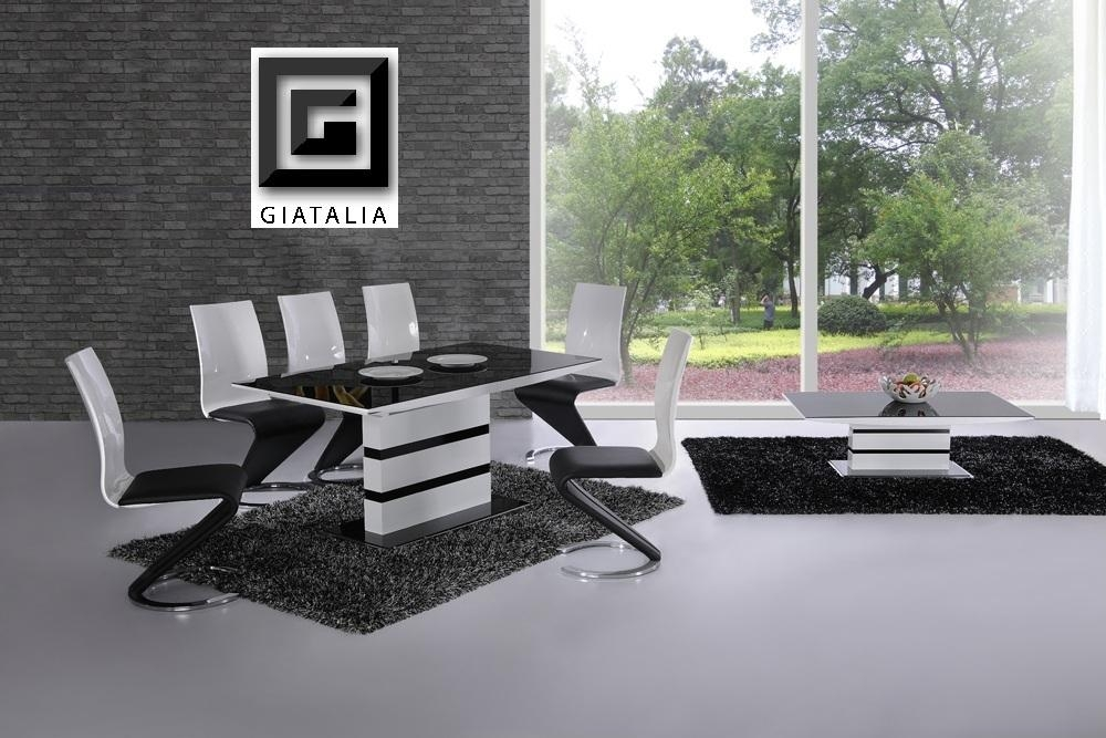 K2 White Black Glass Designer Extending Dining Table Only Or With Within Most Recent High Gloss White Dining Tables And Chairs (Image 10 of 20)