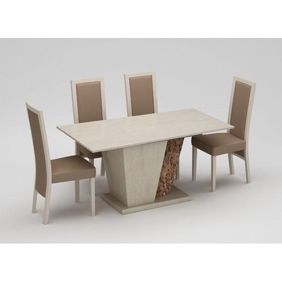 Kati Marble Effect Cream Dining Table With 4 Kati Dining With Most Current Marble Effect Dining Tables And Chairs (Image 13 of 20)