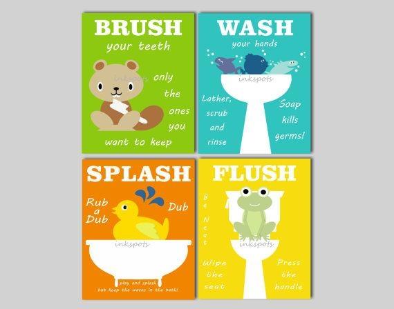 Kids Bathroom Art Bathroom Prints Bathroom Wall Art Rubber Intended For Kids Bathroom Wall Art (View 6 of 20)