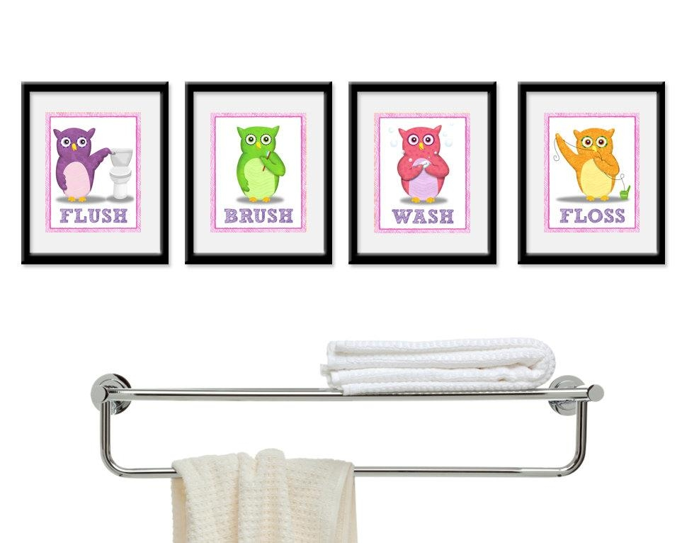 Kids Bathroom Art Children's Girls Wall Decor Owls For Within Kids Bathroom Wall Art (View 13 of 20)