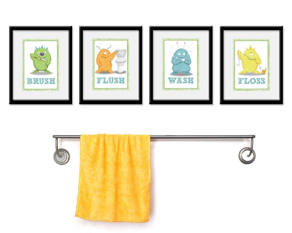 Kids Bathroom Art Children's Wall Decor Monsters For The For Kids Bathroom Wall Art (View 3 of 20)