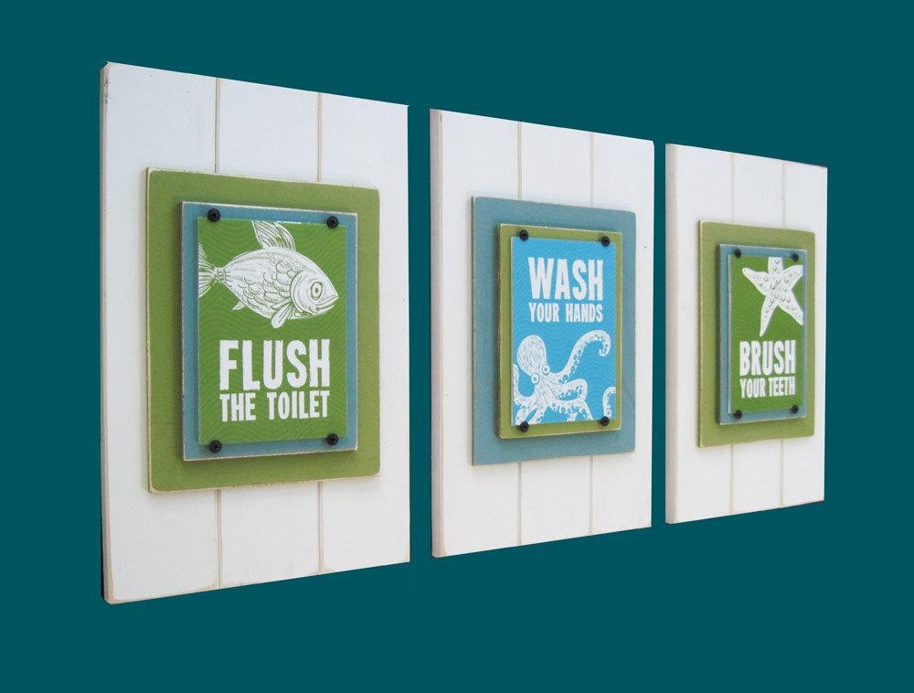 Kids Bathroom Prints: Flush, Brush & Wash  Project Cottage Within Kids Bathroom Wall Art (Image 16 of 20)
