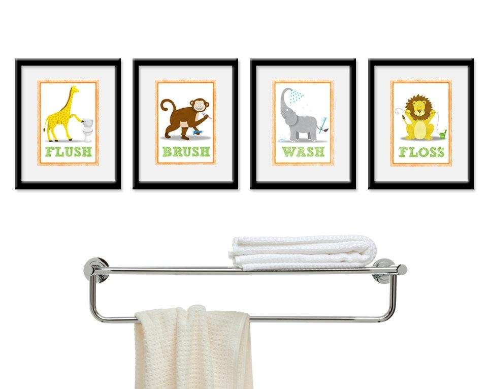 Kids Bathroom Wall Art Four 8 X 10 Bathroom Jungle Safari With Kids Bathroom Wall Art (Image 17 of 20)