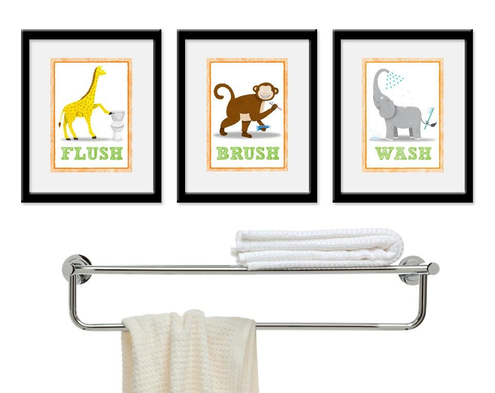 Kids Bathroom Wall Art Three 5 X 7 Bathroom Jungle Safari In Kids Bathroom Wall Art (Image 18 of 20)