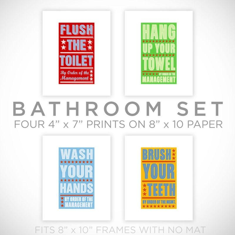 Kids Room Art  Bathroom Decor Set Of 4 Prints Order Of The With Kids Bathroom Wall Art (Image 19 of 20)