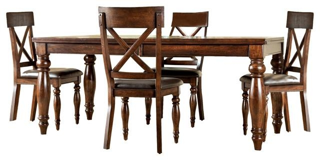 Kingston 7 Piece Mango Wood Dining Set – Traditional – Dining Sets Regarding Recent Kingston Dining Tables And Chairs (Image 10 of 20)