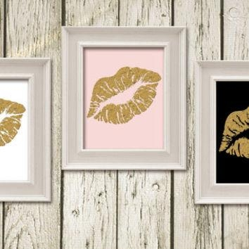 Kiss Lips Black White Gold Pink Digital From Whimofgold On Etsy With Regard To Pink And White Wall Art (Image 15 of 20)