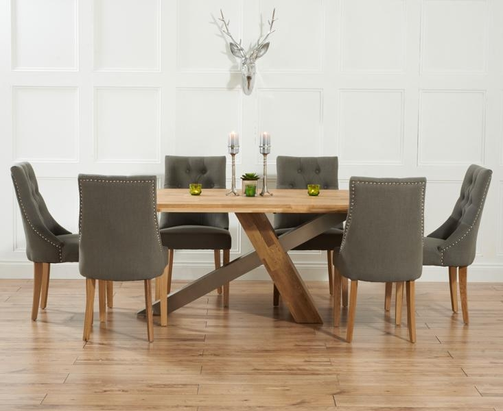Kitchen : Magnificent Dining Table And Fabric Chairs Ridley Oak Pertaining To Most Popular Dining Tables And Fabric Chairs (Image 16 of 20)