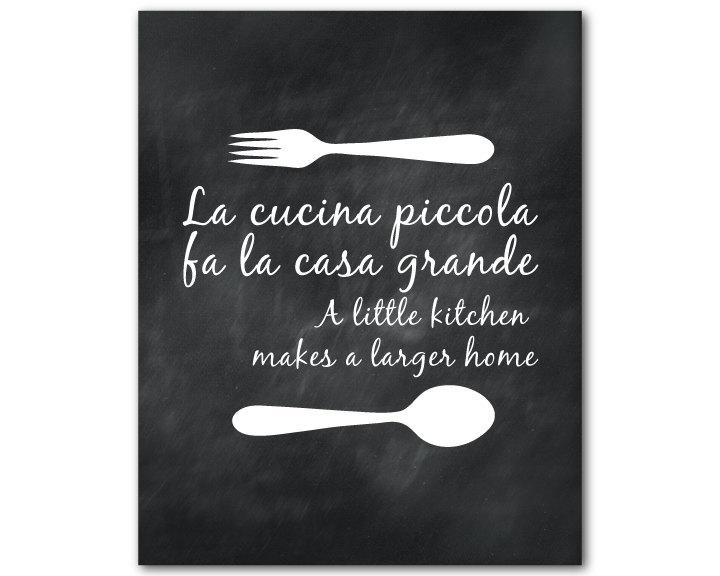 Kitchen Wall Art La Cucina Piccola Fa La Casa Grande A In Italian Wood Wall Art (Image 15 of 20)