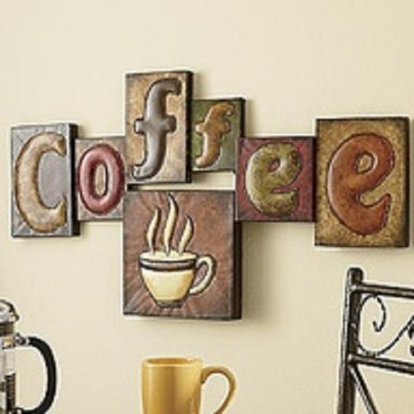 Kitchen Wall Decor, Kitchen Coffee Theme Wall Art Chef Kitchen With Regard To Metal Wall Art Coffee Theme (View 12 of 20)