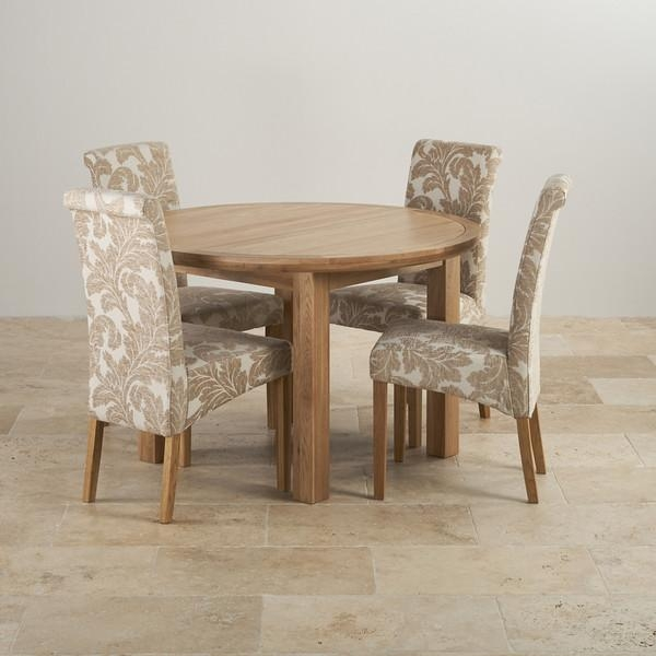 Knightsbridge Oak Dining Set – Round Extending Table + 4 Chairs Inside Recent Oak Dining Tables And Fabric Chairs (Image 14 of 20)