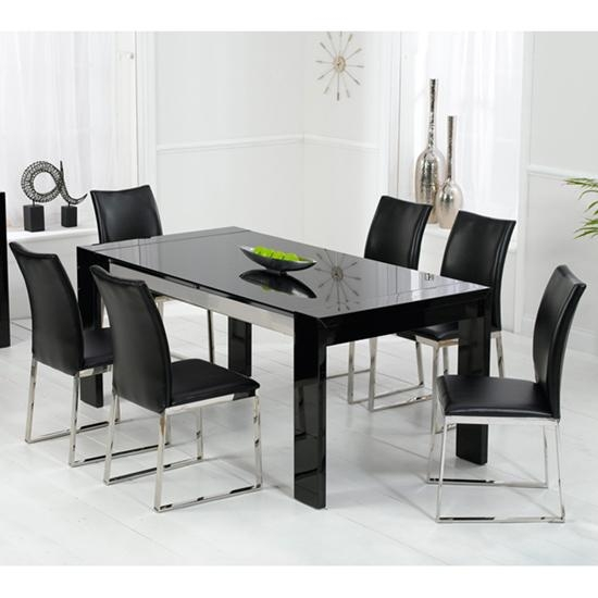 Kobe Table Pertaining To Most Up To Date Black Glass Dining Tables 6 Chairs (Image 16 of 20)
