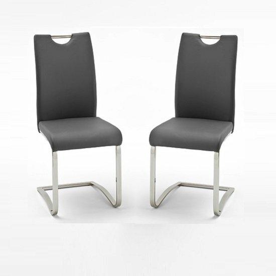 Koln Dining Chair In Grey Faux Leather In A Pair 26660 Regarding 2017 Grey Dining Chairs (Image 15 of 20)
