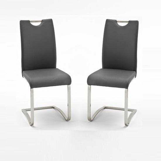 Koln Dining Chair In Grey Faux Leather In A Pair 26660 With Grey Leather Dining Chairs (View 3 of 20)