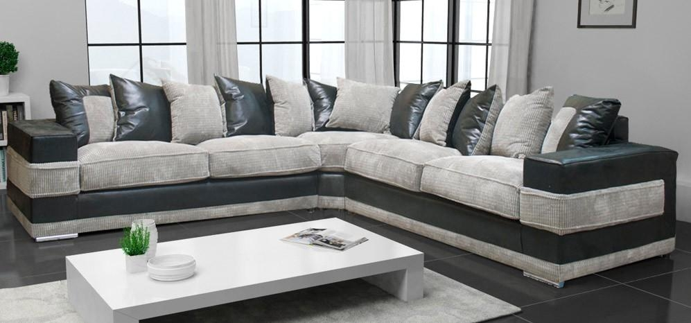 Kudos Corner Portobello Cord Black And Grey – Fabric Sofas – Sofas Throughout Corner Sofas (Image 13 of 20)