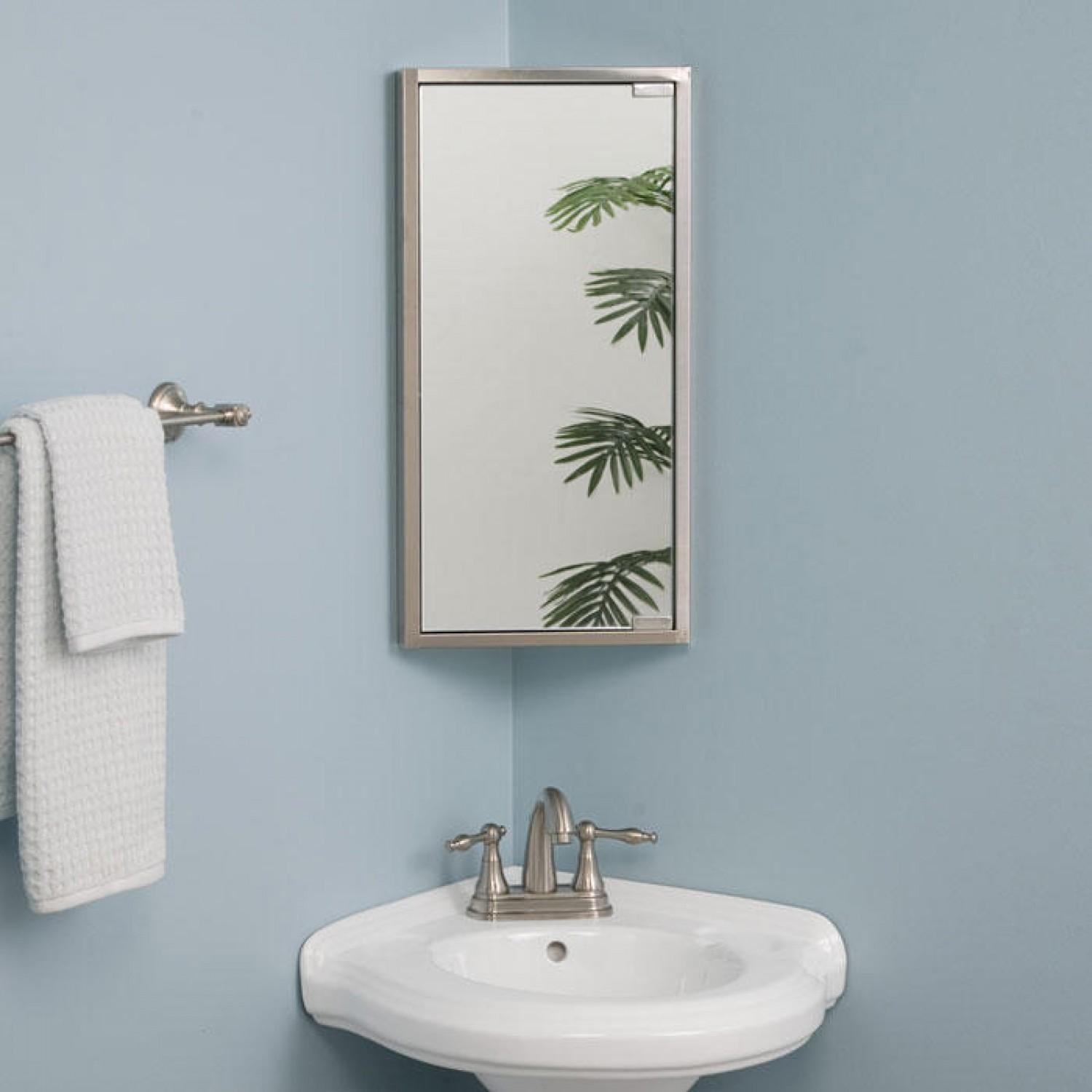 Kugler Stainless Steel Corner Medicine Cabinet – Bathroom In Corner Mirrors (Image 17 of 20)