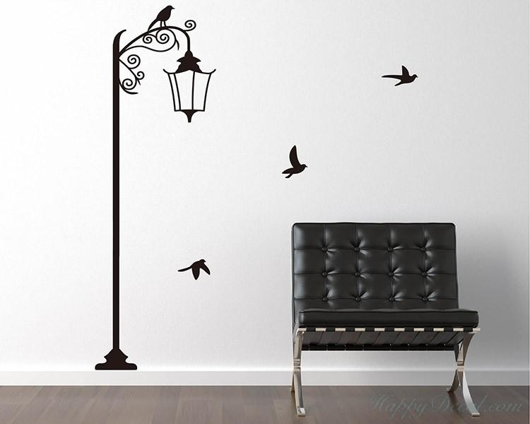 Lamp With Birds Vinyl Decals Modern Wall Art Sticker With Regard To Street Wall Art Decals (Image 10 of 20)
