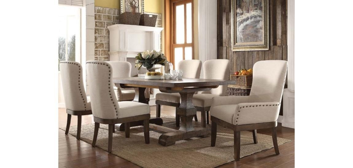 Landon Salvage Brown Dining Room Set Cream Chairs Regarding Best And Newest Cream Dining Tables And Chairs (View 8 of 20)