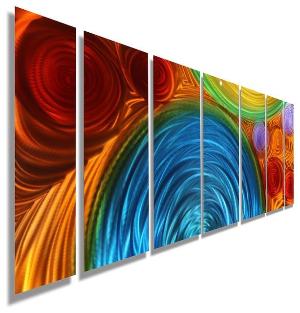 Large Blue, Orange And Red Abstract Metal Wall Sculpturejon Intended For Orange And Blue Wall Art (Image 12 of 20)