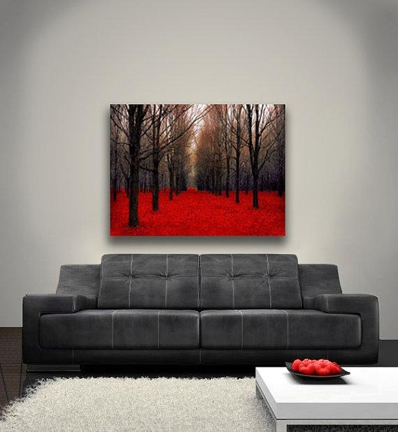 Large Canvas Art Fall Nature Photography Canvas Red Forest For Red And Black Canvas Wall Art (View 9 of 20)