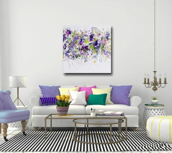 Large Canvas Art Print Purple Pink White Floral Wall Art Pertaining To Floral Wall Art Canvas (Image 13 of 20)