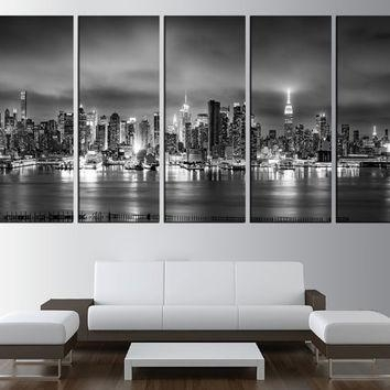 Large Canvas World Map Wall Art Canvas From Artcanvasshop On Etsy For New York Skyline Canvas Black And White Wall Art (Photo 18 of 20)