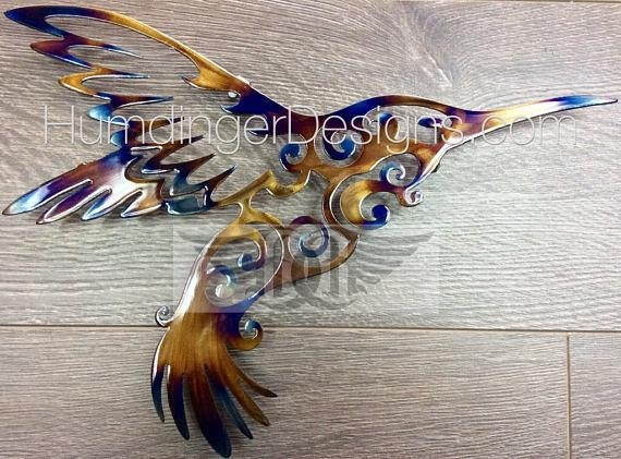 Large Hummingbird Metal Wall Art Metal Wall Decor Intended For Hummingbird Metal Wall Art (Image 15 of 20)