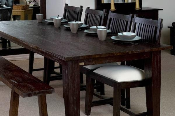 Large Rectangular Rustic Dining Table | Dark Wood Finish | Teak Regarding 2017 Bali Dining Tables (Image 8 of 15)