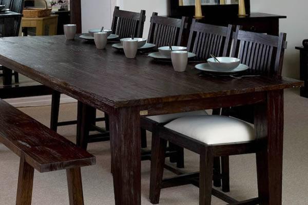 Large Rectangular Rustic Dining Table | Dark Wood Finish | Teak Regarding 2017 Bali Dining Tables (View 13 of 15)