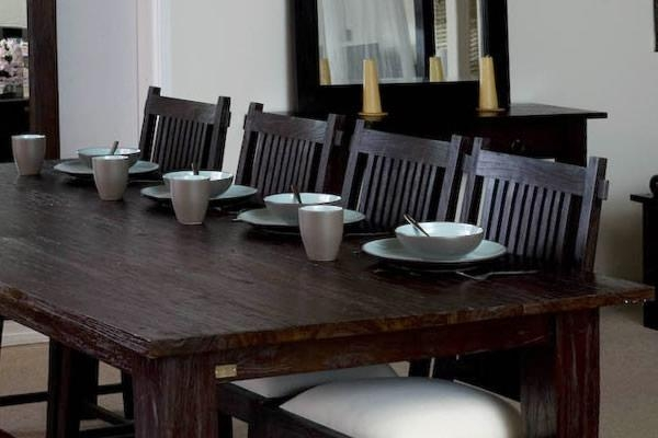 Large Rectangular Rustic Dining Table | Dark Wood Finish | Teak Regarding Bali Dining Tables (Image 9 of 15)